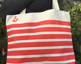 Zippered Red or Blue Anchor Striped Tote Bag W/ Inner Pocket New