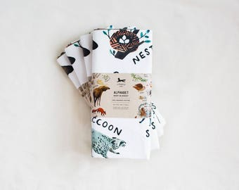 Organic Cotton Woodland Alphabet Lined Baby Blanket - Baby Shower Gift