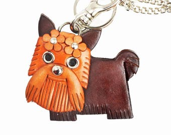 Yorkshire Terrier Leather 3D Leather Dog Bag Charm Keychain Keyring Mascot Accessory *VANCA* Made in Japan #26016 Free Shipping