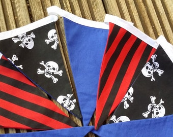 Pirate fabric bunting, Cake Smash prop, Pirate party, Photography prop, New baby gift, Pirate theme