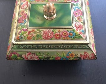 Blue Bird Confectionary Metal Tin, ornate floral design, Harry Vincent Limited Hunnington Worcester Englan, Vintage