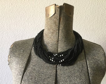 Vintage Necklace - Multi Strand Seed Choker Black  GLASS Beaded Torsade 1970s Jewelry India