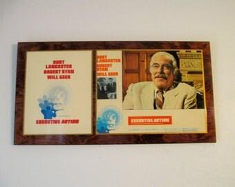Executive Action Lobby Card, Will Geer, Burt Lancaster, Movie Plaque, Vintage Movie Memorabilia, Robert Ryan, Kennedy Assassination Movie