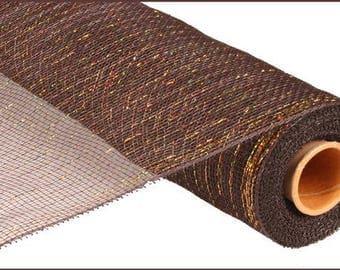 "21""x10yd Metallic mesh, brown mesh, brown deco mesh,  chocolate w/ laser gold, chocolate mesh, chocolate deco mesh, mesh, deco mesh"