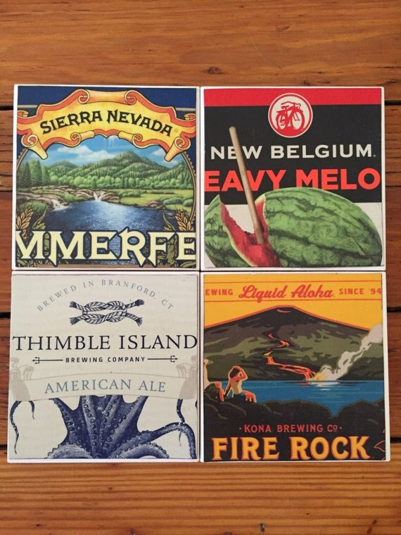 Craft Beer Coasters- Set of 4 Ceramic Tiles
