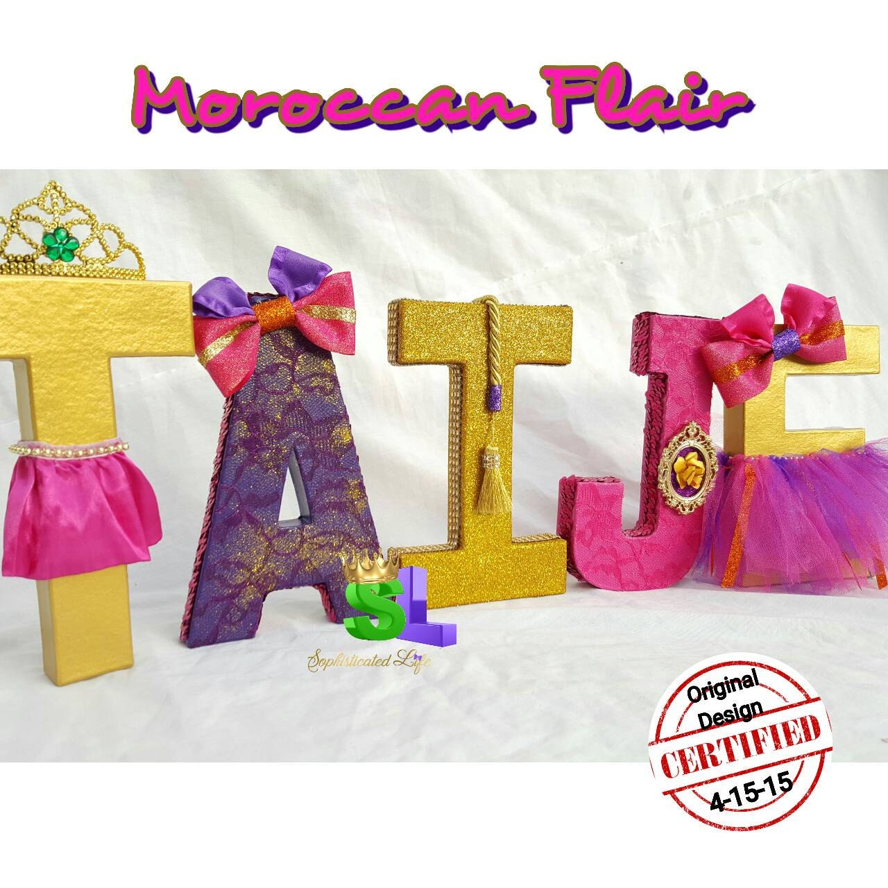 moroccan baby shower decorated letters