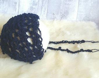 Hand crochet , navy,newborn bonnet. Ready to post. Photography prop.