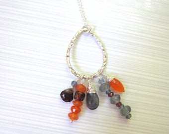Multi-gemstone Necklace, Colorful Gemstones, Garnet and Iolite Briolettes, Chalcedony Briolette, Wirewrapped Gemstones, Sterling Silver