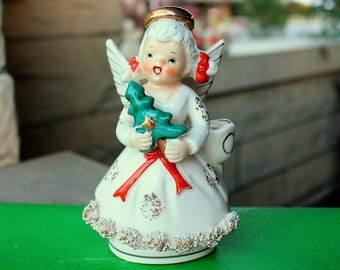 REDUCED Vintage Ucagco Pigtailed Angel Girl Candle Holder W Tree Spaghetti Japan 1950s Christmas Figurines Decorations Collectibles Ceramic