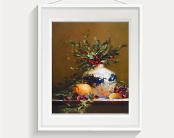 Still life art print | original oil painting | still life | Giclee | Gift for Her | Floral | Flowers | Christmas Holly | Barbara Applegate