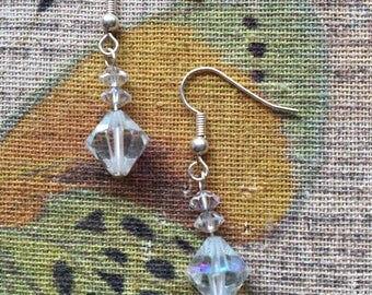 Beautiful - Aurora Borealis Crystal Bead Earrings for Pierced Ears - Made with Vintage Beads - Silver Plated Fish Hook