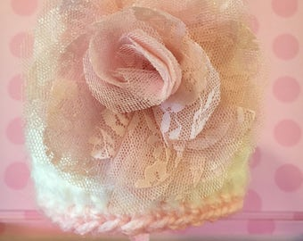 Crochet baby girl hat, newborn soft and fuzzy white hat with pink flower, ready made baby girl hat, baby girl's first hat, girl phto prop