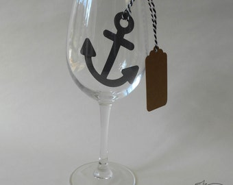 10 Anchor Place Cards Wine Glass Decor Wedding Pirate Party Bag Gift tags Name tags