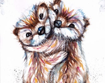 Original Watercolour Otters Print or Greeting Card by Artist Be Coventry Wildlife Animal Art, FREE UK Postage