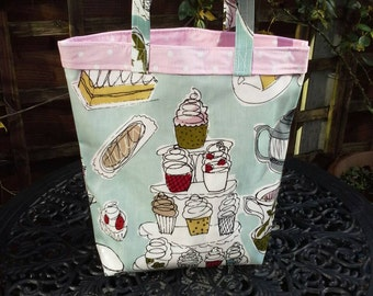 English Afternoon tea oilcloth tote / book / shopping bag