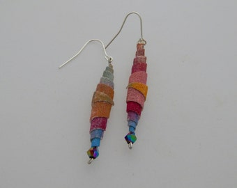 Raconteur Earrings - Handpainted Textile - One of a kind - Featured in Jewelry Affaire Magazine