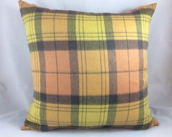 Sandra Jordan-Prima Alpaca-Plaid in Cantaloupe, yellow,lavender, grey-pillow cover