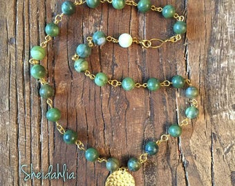 Jade Necklace- Green necklace, Natural green jade stone, Pendant, African jade, Statement necklace, Beaded, Necklace, Gift for her