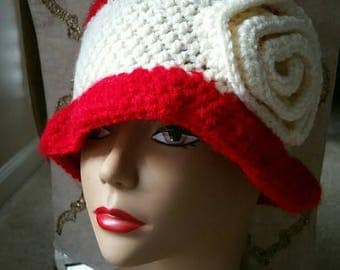Red and White Crochet Hat with Swirls