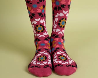 Men's colorful dress socks in marsala | Mediterranean tiles design