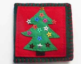 Sewing Needleholder, Christmas Tree with Stars, Sequinned Sewing Needle Book, Sewing Gift