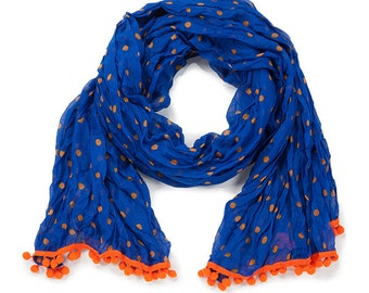 Royal Blue & Orange Pom Pom Scarf - Originally 15.00