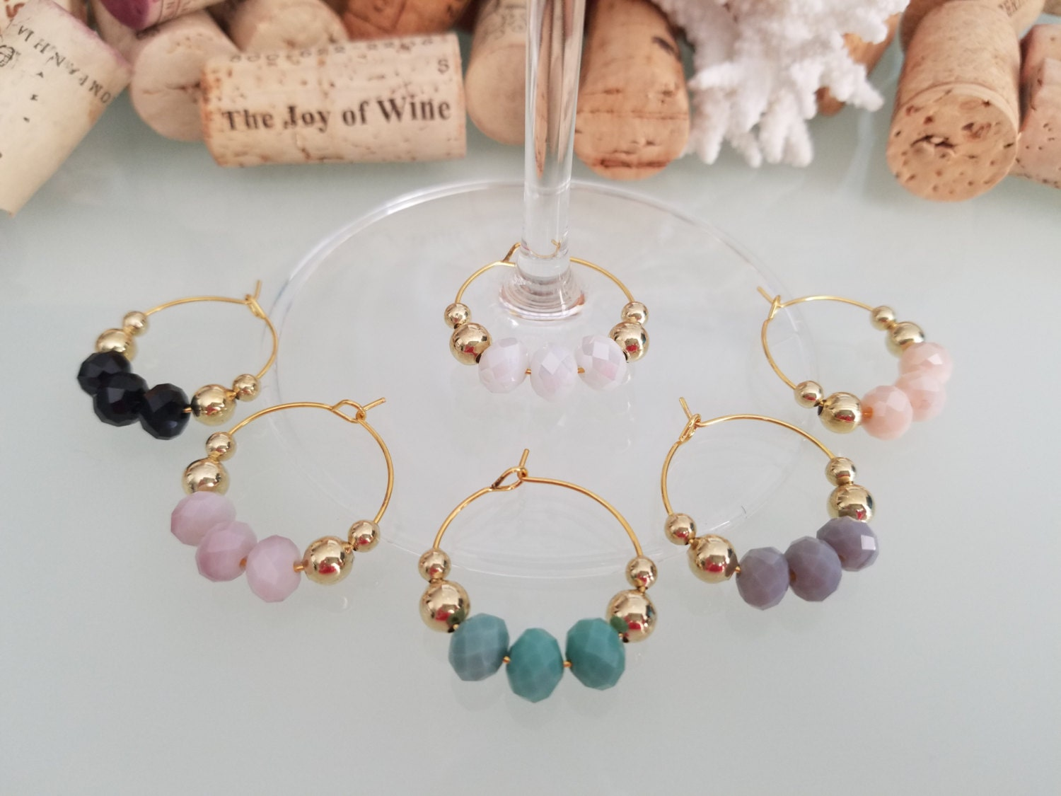 sale gold wine glass charms unique wine gift by