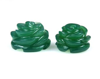 20 CTS Green Onyx Hand Carved Rose Flower Drilled Round Carving Couple Pair Loose Gemstones