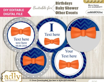 DIY Editable Boy Bow Tie Cupcake Toppers Digital File, print at home favor tags birthday, baby shower, baptism Grey - aa86bBOG0ac