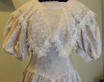 Gunne Sax 1980s Pale Pink Floral Dress
