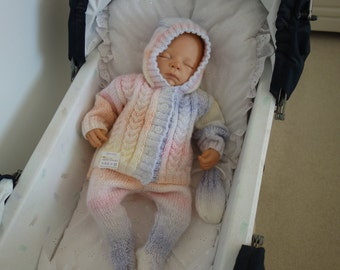 Hand knitted baby's pram set consisting of leggings, hooded cardigan/sweater and mittens in lovely pastel variegated yarn to fit 0-3 months.
