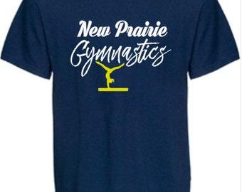 New Prairie Gymnastics Short Sleeve Navy T-Shirt