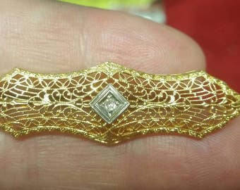 14k yellow gold art deco filigree pin