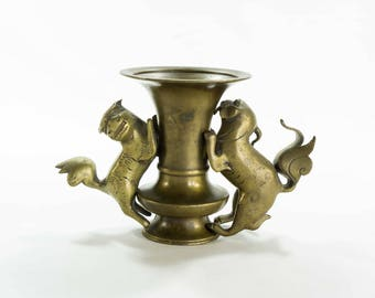 Antique Brass Fu Dogs & Shishi Lions Incense Burner - A Pair