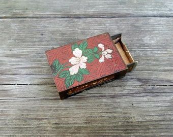 Cloisonne Matchbox, Vintage Chinese Floral Cloisonne Box,         Collectible Asian Tobacciana