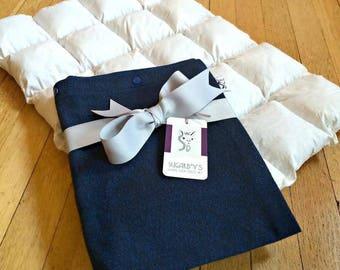 Sugarboy's Original Paca Pet Pouf Pet Bed With Denim Blue Flannel Cover