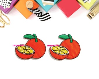 Set 2pcs. Orange Patch - Fruit Patch New Sew / Iron On Patch Embroidered Applique Size 3.6cm.x3cm.