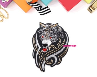 Heavy Wolf Black Patch New Sew / Iron On Patch Embroidered Applique Size 7.3cm.x10cm.