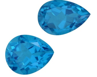 Caribbean Blue Quartz Triplet Loose Gemstones Set of 2 Pear Cut 1A Quality 11x9mm TGW 7.45 cts.