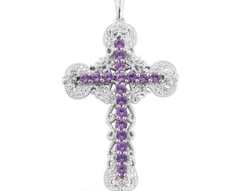 Simulated Purple Sapphire Platinum Bonded Brass Cross Pendant Without Chain TGW 2.10 Cts.
