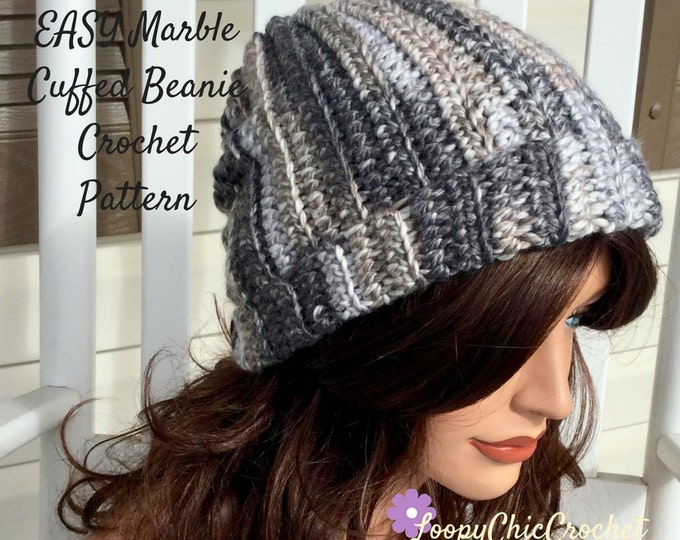 Easy Marble Cuffed Beanie Crochet Pattern, Crochet Hat Pattern for Beginners, Easy Crochet Pattern and Photo Tutorial for Winter Cuffed Hat