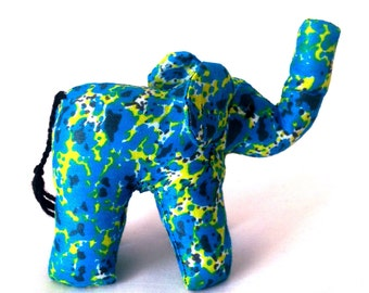 "Small Elephant #1115 made by Ugandan Disabled Women . 4"" height and 5"" wide"