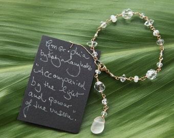 Frosted Quartz ~ Diamond Quartz ~ Rainbow Moonstone ~ Clear Quartz and 14K Gold Fill bracelet ~ handmade on Kaua'i, one of a kind