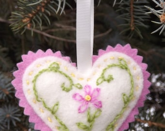 Valentine Heart For Her Hand Embroidered Wool Lavender Scented Sachet Design