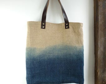 dip dye bag eco friendly bag shopping bag large tote bag market bag blue tote bag hessian earthy rustic hippie shopper TraditionalDyeWorks