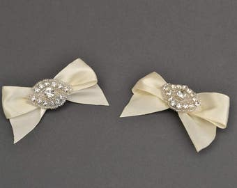 Satin bow shoe clips, bridal shoe clips, wedding shoe clips, bridal accessories