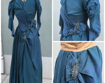 HUGE SALE 1900s Antique Victorian Steampunk Skirt & Jacket Suit in Teal XS