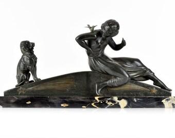 Superb French Art Deco Lady Dog Bird sculpture by VAN DE VOORDE circa 1920