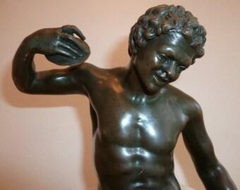 Antique European bronze of a nude athlete throwing discs c. 1890