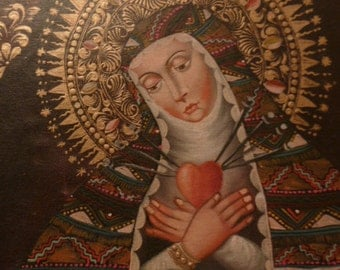Religious art European Iconic oil on canvas of Sacred Heart Virgin Holy Mary Saint original gilt wood frame 1920s
